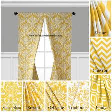 Yellow Curtains For Living Room Interior Design Beautiful Baroque Geometric Curtain Panels Design
