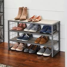 better homes gardens decorative metal grey wood and metal shoe rack
