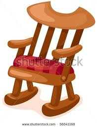 rocking chair clipart. Picture Of A Wooden Rocking Chair With Red Cushion In Vector Clip Art Illustration Clipart
