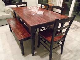 Rustic Farmhouse Table Brown Stained Top Black Painted Legs - Rustic farmhouse dining room tables
