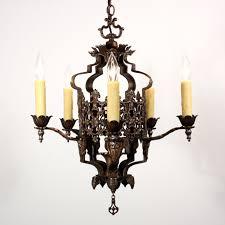 spanish revival lighting. SOLD Striking Antique Spanish Revival Five Light Bronze Chandelier With Original Polychrome Finish. \u2039 \u203a Lighting O