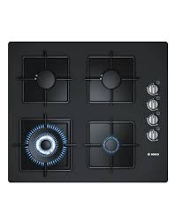 serie 2 poh616b1ti 60 cm black hard glass gas hob with integrated controls