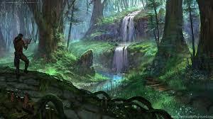 Skyrim Elder Scrolls Drawing Warrior Warriors Fantasy Magic Trees ...  Desktop Background