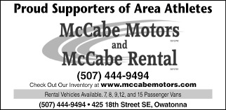 proud supporters of area athletes mccabe motorccabe al owatonna mn