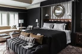 black bedroom. Black Bedroom With Curtains Behind Headboard V