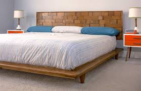 a mid century modern diy bed in a bedroom