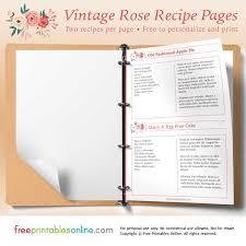 Rose Printable Vintage Recipe Pages Free Printables Online