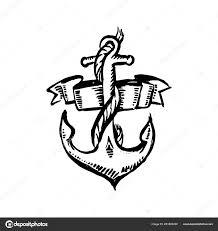вектор руки Drawn черный цвет старой школы татуировки якорь на белом