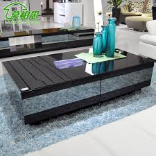 Awesome Modern Black High End Coffee Tables On Blue Fur Rug Gallery