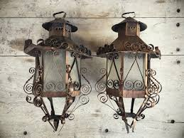 spanish revival lighting. Pair Of 1960s Spanish Revival Light Fixtures, Metal Scrollwork Mexican Lanterns Lighting S