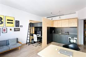 studio living room furniture. Rebloggy Because Of The Black And Tan Wood, This Loft Bed Over An Office Space Is Studio Living Room Furniture -