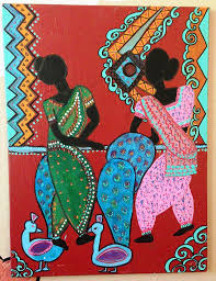 indian folk art paintings dancing girls folk art by madhuri krishna