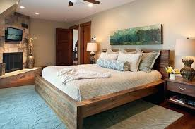 Country Style Panel Bed Frame Made Of Solid Wood Rustic  DecofurnishCountry Style Bed