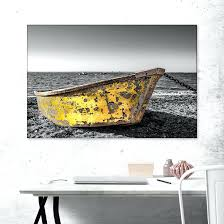 wall art yellow and blue old yellow dinghy on the beach wall art yellow wall art awesome yellow and gray