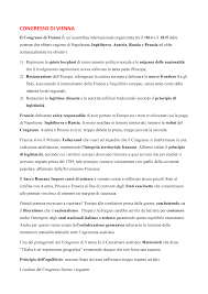 1. Congresso DI Vienna - Riassunto Storia contemporanea - StuDocu
