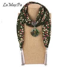 lamaxpa new women pendants necklaces scarf chiffon scarf alloy beads jewelry circular femme popular decorative neckerchief head scarf styles crochet scarves