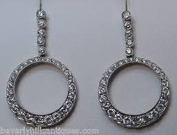 art deco design 2 carats diamonds 18k white gold chandelier earrings