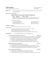 Sample Resume For Financial Services Financial Services Advisor Resume Mt Home Arts