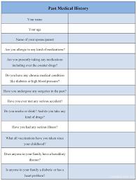 Sample Medical History Form Past Medical History Form Sample Forms 10