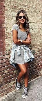 converse dress. jean jacket around your waist with converse dress