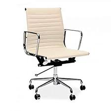 Eames ribbed chair tan office Pu Leather Real Cream Leather Charles Eames Era Ribbed Office Chair Low Back Amazoncouk Kitchen Home Triadaus Real Cream Leather Charles Eames Era Ribbed Office Chair Low Back