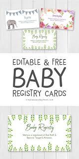 Editable Free Printable Baby Registry Cards Baby Shower