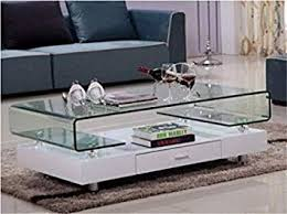 gingermango glass top white gloss coffee table chrome legs drawer living room glass and chrome coffee table0