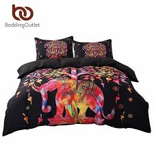 bedding black bedding set black and red boho duvet cover and pillowcase indian style print exotic