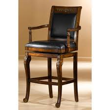 hilale furniture douglas distressed cherry with gold highlights wood barstool with square swivel with arms and