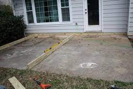 concrete ground level deck