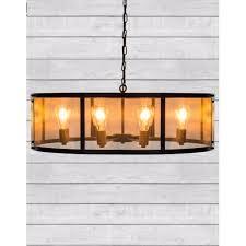 cambridge large round black iron industrial chandelier