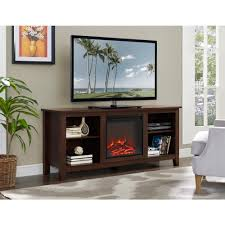 58 in wood fireplace media tv stand console traditional brown