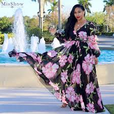 2019 <b>Misshow Plus Size</b> Floral Printed Chiffon Women Dress ...