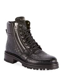 balmain men s monogrammed leather combat boots in black