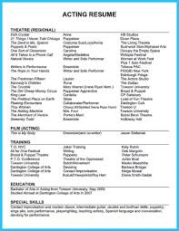Musical Theatre Resume Template Technical Acting F Saneme