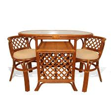 Dining Table With 2 Chairs Details About Borneo Handmade Rattan Wicker Compact Dinette Dining