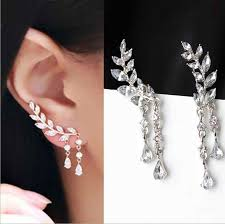 MJARTORIA 2018 Imitation <b>Pearl Heart</b> Crystal <b>Earrings</b> Flower Leaf ...
