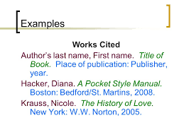 Examples Of Work Cited How To Do A Works Cited