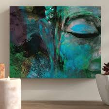turquoise painted buddha s face graphic art print on canvas on harmonious buddha canvas wall art with large buddha wall art wayfair