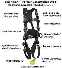 Dbi Sala Exofit Size Chart 1113320 Exofit Nex Arc Flash Construction Style Positioning Rescue Harness Qc Qc
