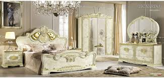 white italian bedroom furniture. Leonardo Italian Bedroom Set In White And Gold Finish Furniture