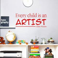 16 12 De Réductionchaque Enfant Est Un Artiste Pablo Picasso Vinyle Citations Stickers Muraux Art Stickers Pour Enfants Chambre Décor In