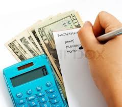Household Expenses Calculator Making The Monthly Calculation For Stock Image Colourbox