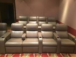 fortress chairs. fortress home theater seating 9 seats light brown leather.one row of 5 one chairs