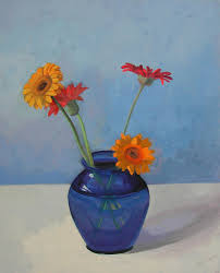 fl still life painting red and yellow gerbera daisies by eva wittlinger