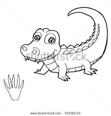 Small Picture Paw Print Crocodile Coloring Page Vector Stock Vector 323281133