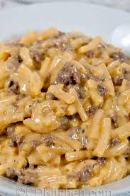 Mac and cheese is such a solid staple. Easy Cheesy Beef Mac Recipe Cdkitchen Com