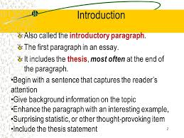 the elements of an excellent essay title introduction thesis  2 introduction also called the introductory paragraph