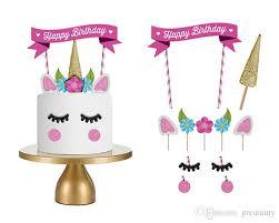 Cute Unicorn Cake Flags Cake Decor Kit Children Birthday Party