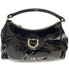 gucci large d ring black leather hobo bag shoulder bag